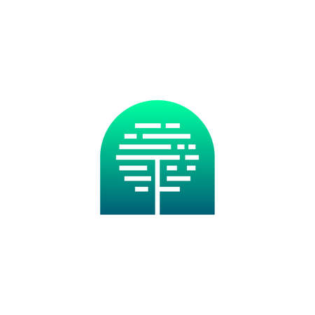 negative space silhouette geometric tree logo