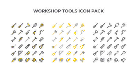 workshop tools icon collection in three styles 矢量图像
