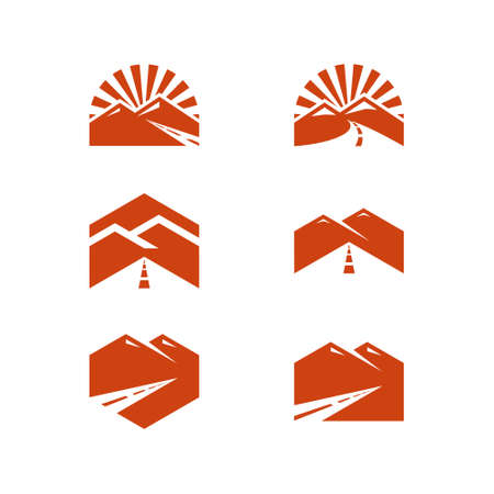 simple logo of mountain and road. for travel, business and industry