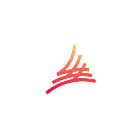 line art curved triangle logo representing fire