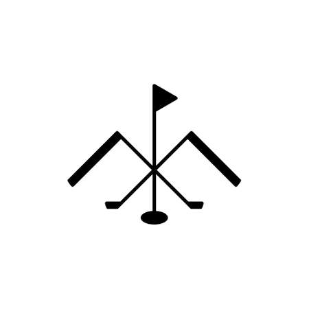 Golf themed logo of mountains, golf clubs, hole, and flag