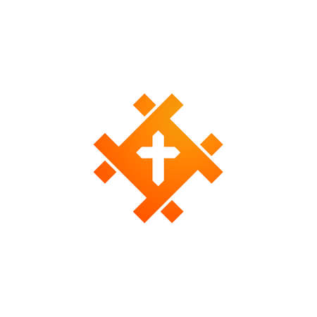 cross logo in geometric shape. for church and religious movement