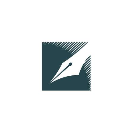 logo of a classic fountain pen nib in a square