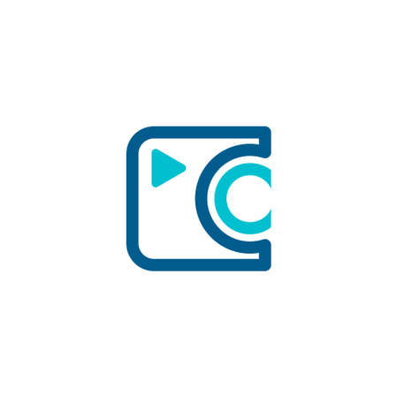 logo of a camera made of squares and circles forming the lens and the letter c