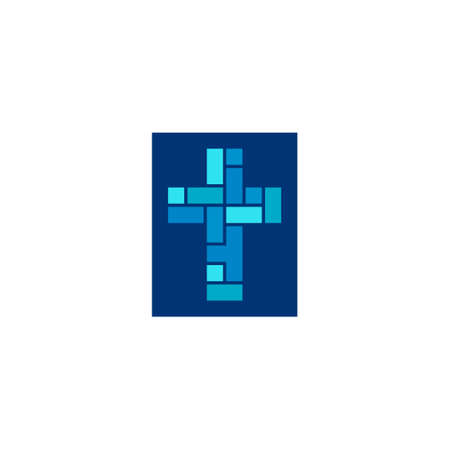 religious logo of a mosaic of squares and rectangles forming a cross