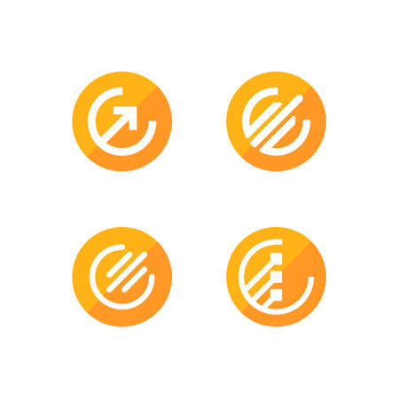 set of digital currency logo in the shape of a circle base