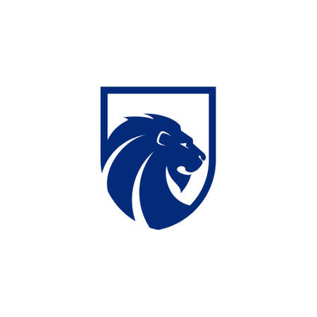 logo of a lion with long hair in the shape of a shield Logo