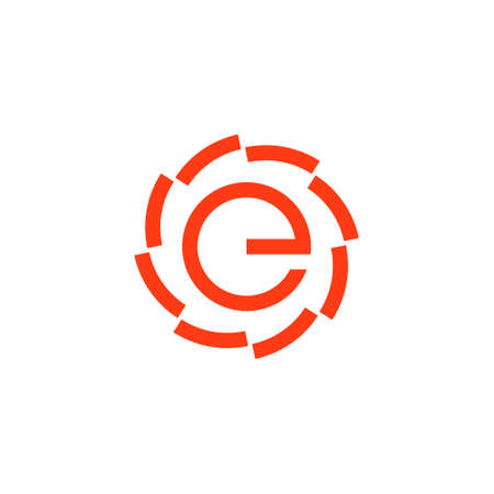 logo of a circular saw with letter e in the center