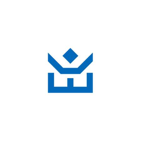 bold logo of a human figure above a geometric crown 向量圖像