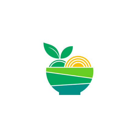 logo of a bowl filled with fresh food Logo