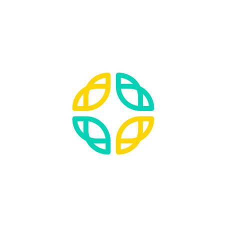 line art circular geometric shape logo with leaf shape Illustration