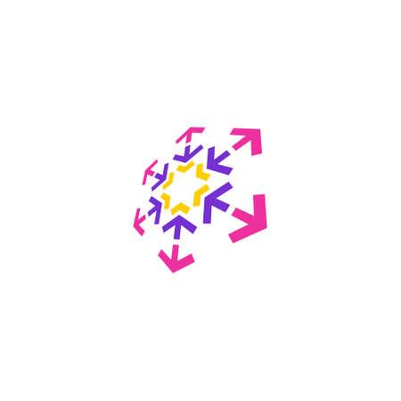 hexagon logo with inward and outward arrows at each corner