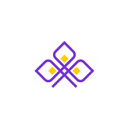 geometric luxury outline logo of a flower with three petals