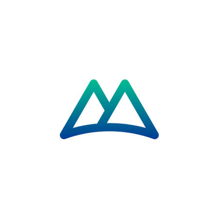 letter m logo of two triangular mountains with curved lines as the base