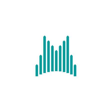 letter m logo from straight up arrow stripes Ilustração