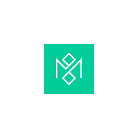 letter m logo with two diamond squares inside a solid square