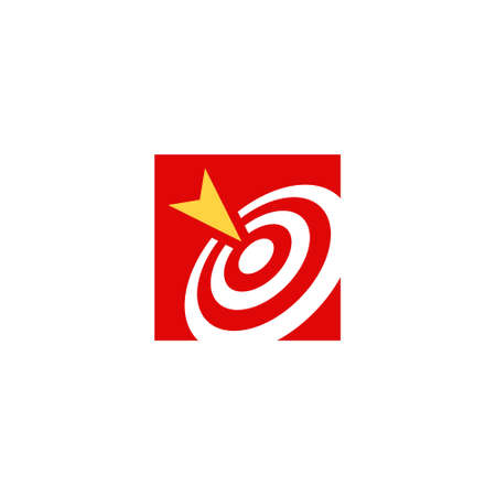 the logo of circular lines forms a target, and an arrow that hits it right in the middle 矢量图像