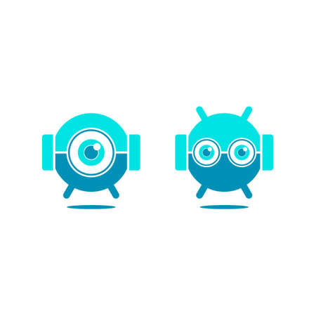 logo of two cute floating robots