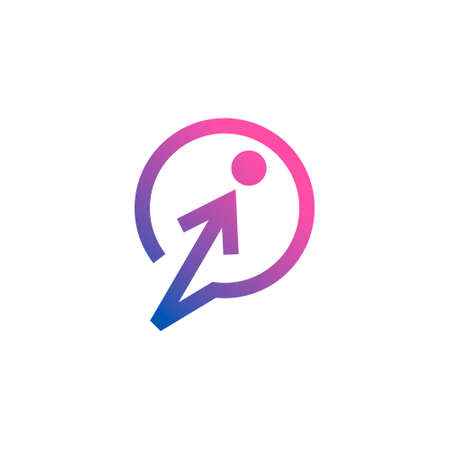logo of a talk balloon with an arrow and a circle shaping a human figure
