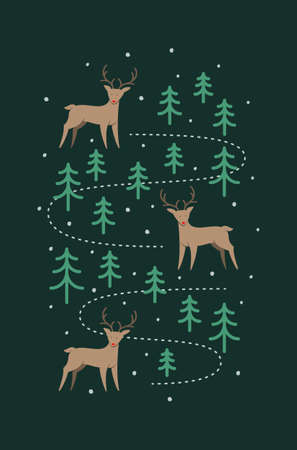 flat style, Christmas illustration of three cute reindeer in the forest in the winter snow