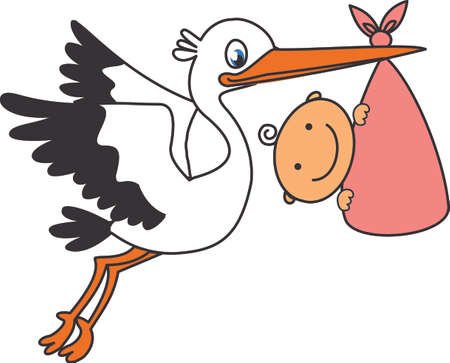 cicogna: Stork e bambino Vettoriali