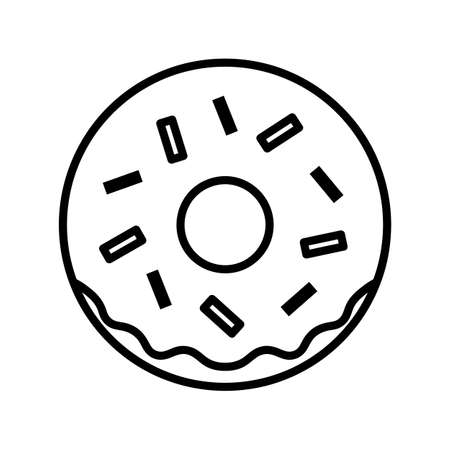 Donut flat icon. Pictogram for web. Line stroke. Isolated on white background.