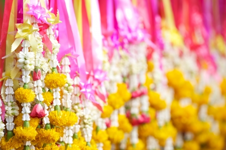 Flower garlands in thai style, used offering to buddha Stock Photo