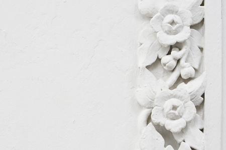 White flower stucco, bas-relief Stock Photo - 14282796