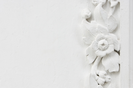 White flower stucco, bas-relief Stock Photo - 14282795