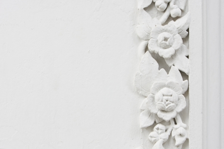 White flower stucco, bas-relief photo