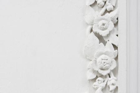 White flower stucco, bas-relief