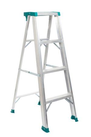 Aluminum step ladder isolated on white background Stock Photo
