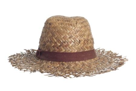 chapeau paille: chapeau de paille isol� sur un fond blanc