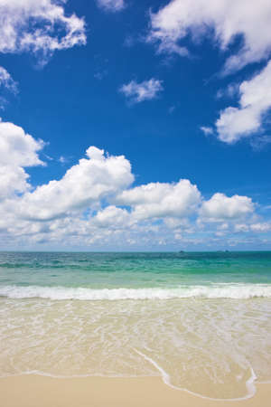 beach and tropical sea under the bright blue sky at summer day Stock Photo