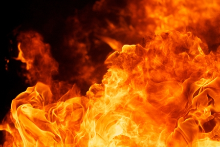 close up shot of blaze fire flame texture background Stock Photo