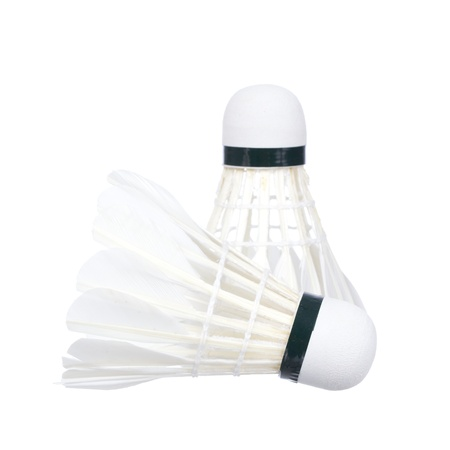 two shuttlecocks for badminton isolated on a white background photo