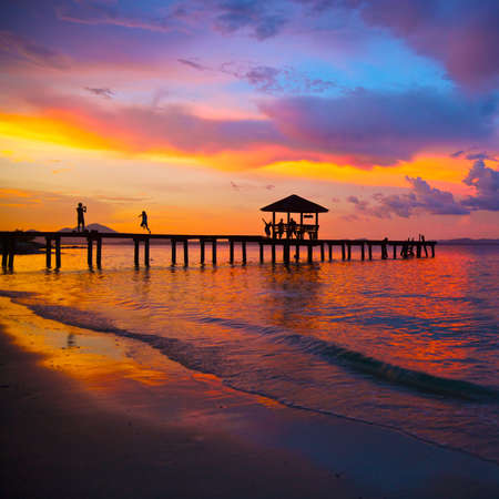 beautiful sunset in the tropical sea at summer time photo