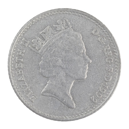 pence: close up shot of an old English ten pence coin isolated on a white background Stock Photo