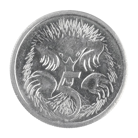close up shot of Australian 5 cent coin isolated on a white background Standard-Bild