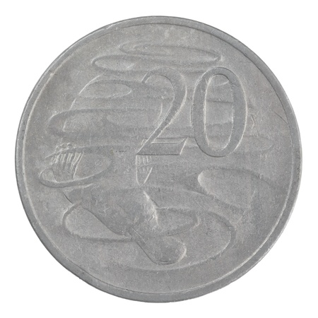 close up shot of an old Australian 20 cent coin isolated on a white background Stock Photo - 20299849