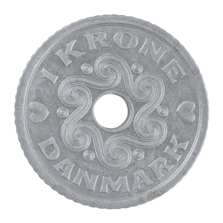 close up shot of a Danish 1 Krone coin isolated on a white background photo
