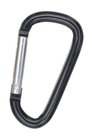 シルバーとブラック D 型のアルミ製カラビナ白い背景で隔離のショットを閉じる