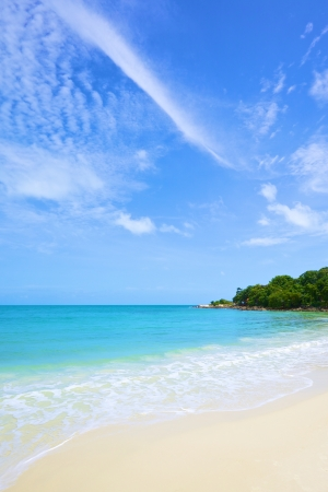 beautiful beach and tropical sea under the bright blue sky at summer day photo