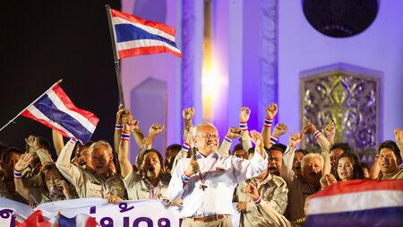 civil disorder: Bangkok, Thailand - January 7, 2014  Mr  Suthep Thaugsuban and People