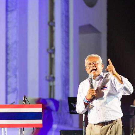 Bangkok, Thailand - January 7, 2014: Peoples Democratic Reform Committee (PDRC) leader Suthep Thaugsuban on January 7, 2014 at Ratchadamnoen stage, Democracy Monument, Bangkok, Thailand.