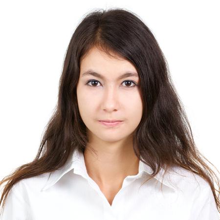 ホワイト シャツ ホワイト バック グラウンド、正方形の比に分離された若い魅力的なセクシーな美しい女性のパスポートの写真 写真素材