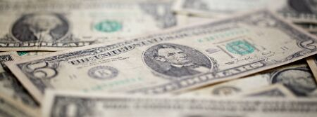 U.S. dollar, American dollar bank notes for business, finance banner concept background, selective focus with shallow depth of field Banco de Imagens
