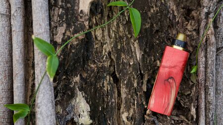 high end red natural stabilized wood regulated box mods with rebuildable dripping atomizer on natural burrow wood texture background, vaporizer equipment, selective focus Archivio Fotografico