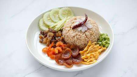 Kkao Kluk Kaphi, Thai food, shrimp paste rice with shallot, roasted pepper, cucumber, mango, caramelized pork, dried shrimp, sausage, omelet and yardlong beans