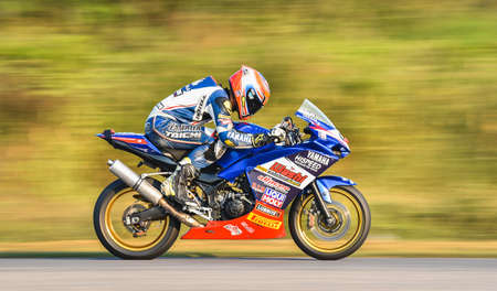 NAKHON PATHOM, THAILAND-DECEMBER 17: Motorcycle racing with the style and excitement of the participating teams in the R2M Thailand Superbike 2017 Final at Thailand NAKHORNCHAISRI CIRCUIT ON DECEMBER Editorial
